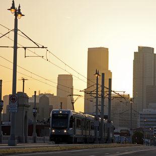 Light rail train in Los Angeles