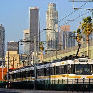 Light rail leaves downtown Los Angeles