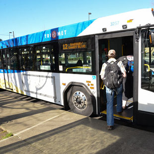 Thumbnail: boarding a bus in Burlingame