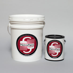photo of 5-gallon and 1-gallon red MetroPaint cans