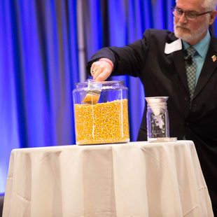 A full jar of seed corn at Regional Transportation Plan Forum 3