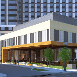 rendering of convention center hotel Multnomah entrance