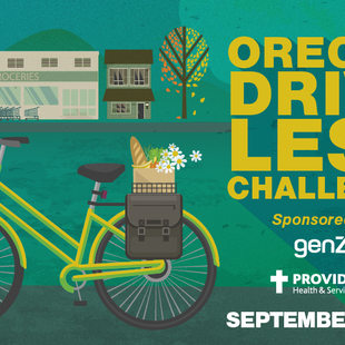 Promotional graphic for Oregon Drive Less Challenge