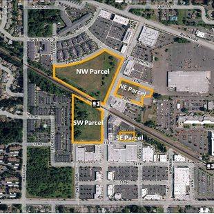 aerial image highlighting parcels in the Gresham Civic Neighborhood