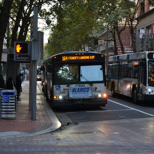 a C-TRAN bus at a bus stop in downtown Portland