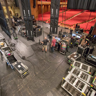 Aerial view of the Keller stage as the RAIN crew loads in