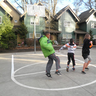kids playing at Oleson Woods apartment complex