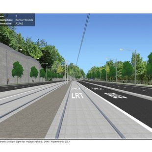 A computer-simulated image of what Barbur Boulevard near Barbur Woods would look like with a light rail lane down the middle.