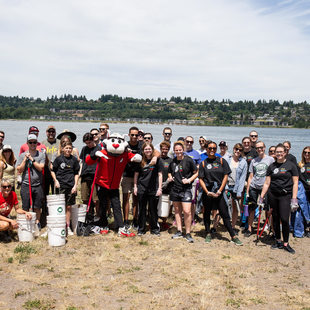 A group photo of volunteers for the Broughton Beach clean-up day