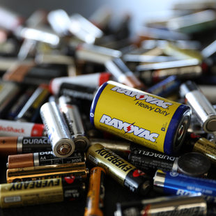 closeup of discarded batteries