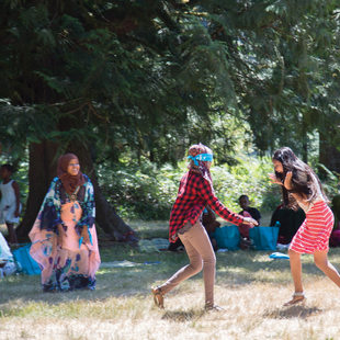 Teenagers working with the Immigrant and Refugee Community Organization play at Oxbow Regional Park.