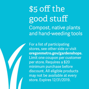 coupon for $5 off natural gardening plants and materials and a list of participating retailers for 2019