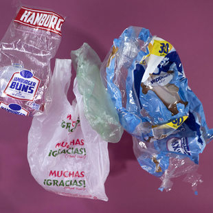 Plastic shopping bag, hamburger bun bag and toilet paper wrap