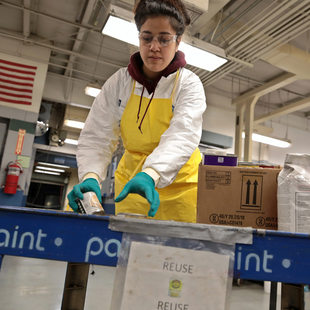 Annelise Tuitavuki sorts through paint at Metro South Hazardous Waste Facility