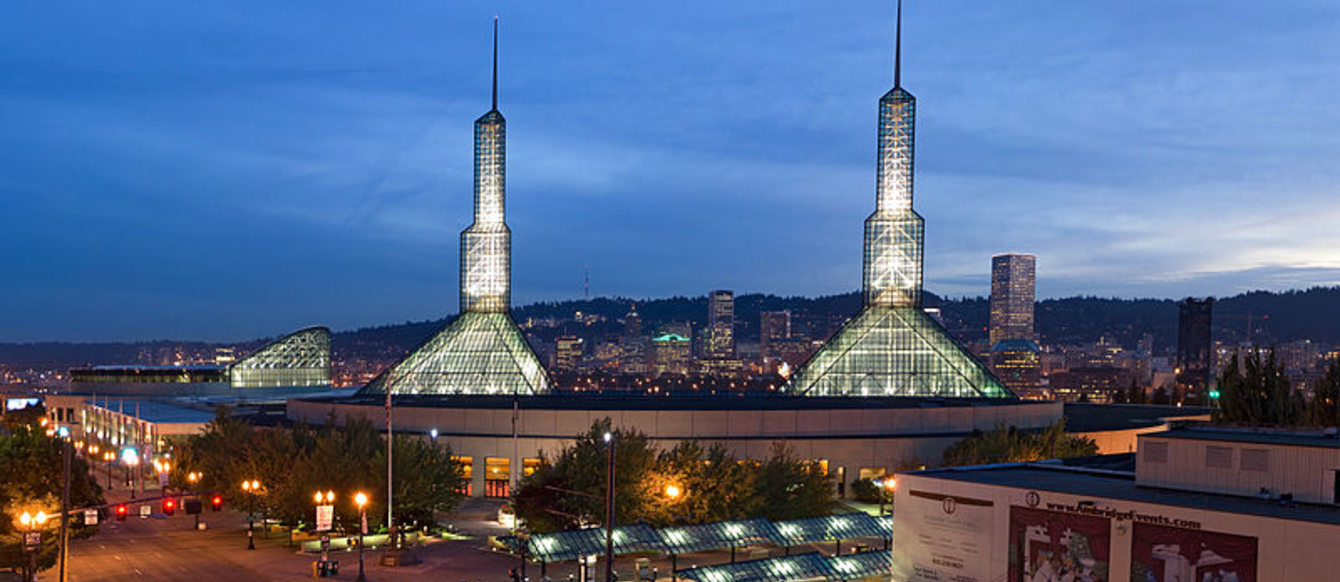 photo of the Oregon Convention Center towers at night
