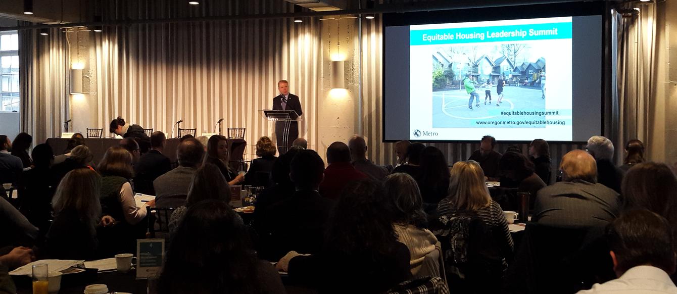 Seattle Mayor Ed Murray addresses the Equitable Housing Leadership Summit on Feb. 1, 2016, in Portland.