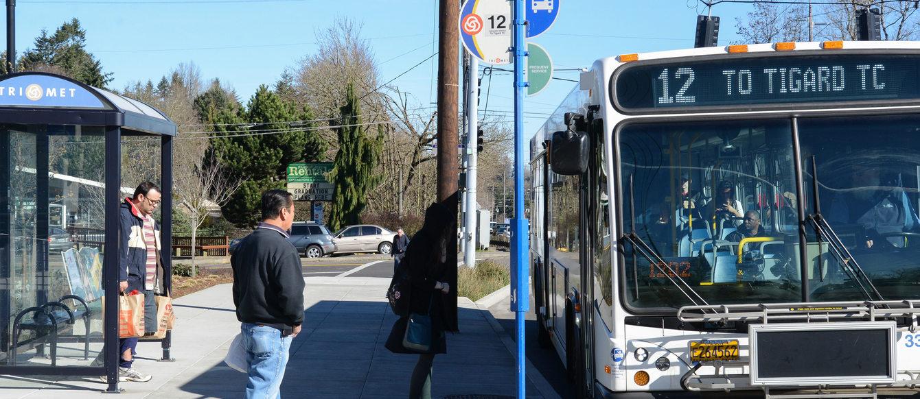 Boarding a 12 bus in Southwest Portland