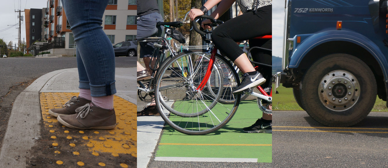 photo of pedestrian's feet in crosswalk, bicycle wheel, and front wheel of a truck