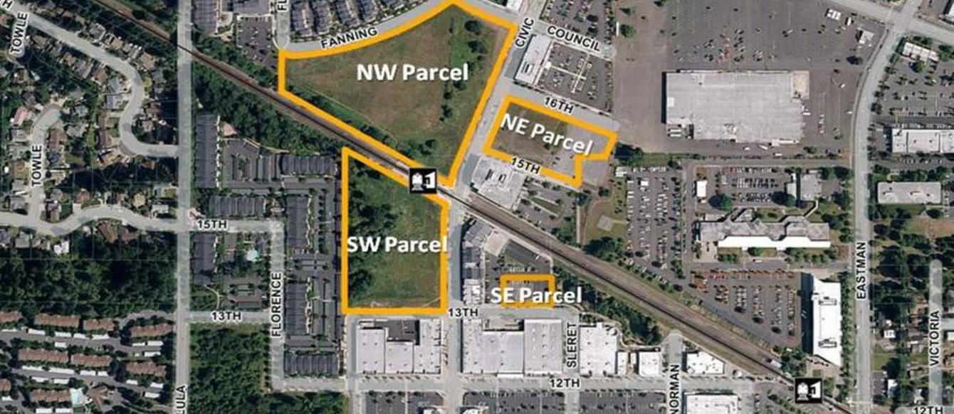 aerial image highlighting parcels in the Gresham Civic Neighborhood