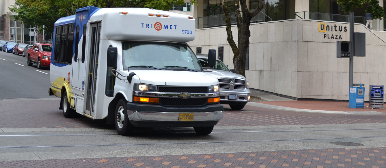 TriMet's paratransit shuttle LIFT on the road