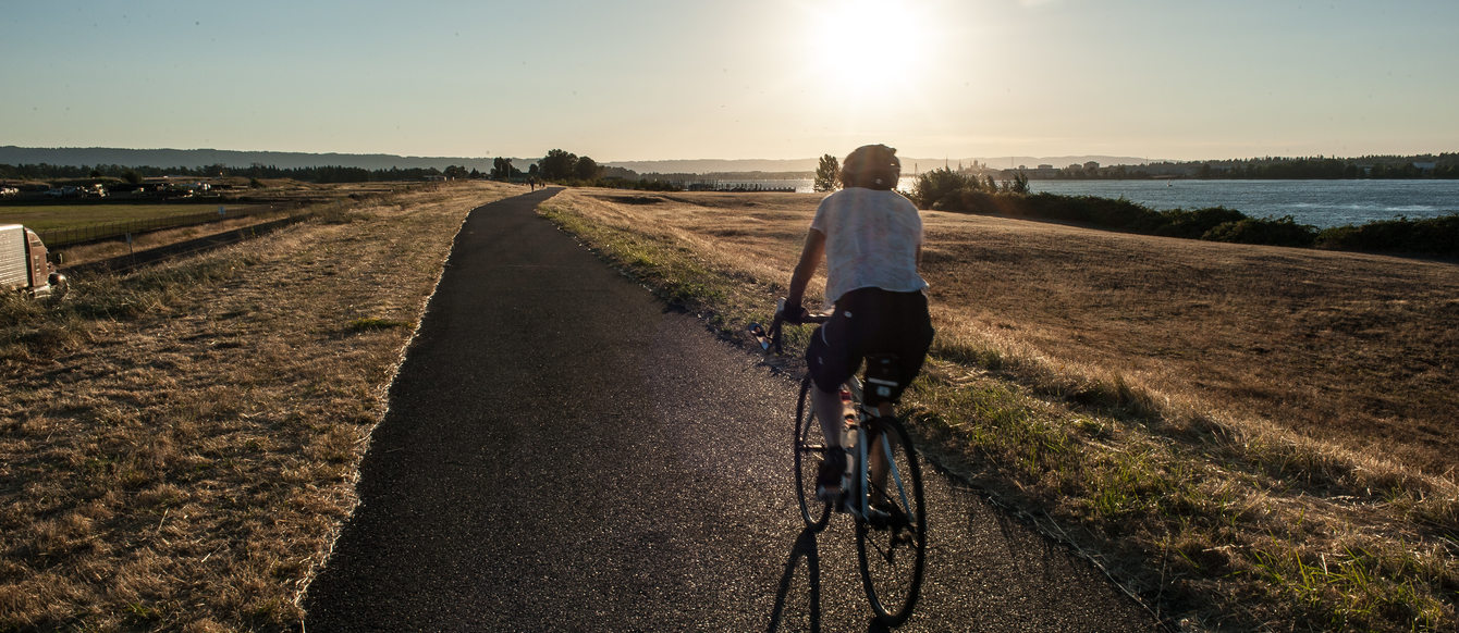 Man biking on a trail