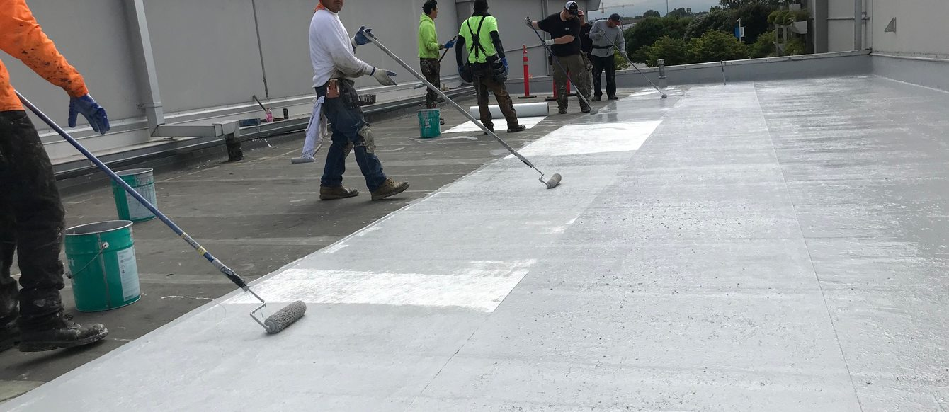 Contractors doing roofing work