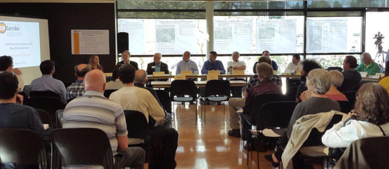 una reunion del comité directivo del Plan del 'Southwest Corridor'