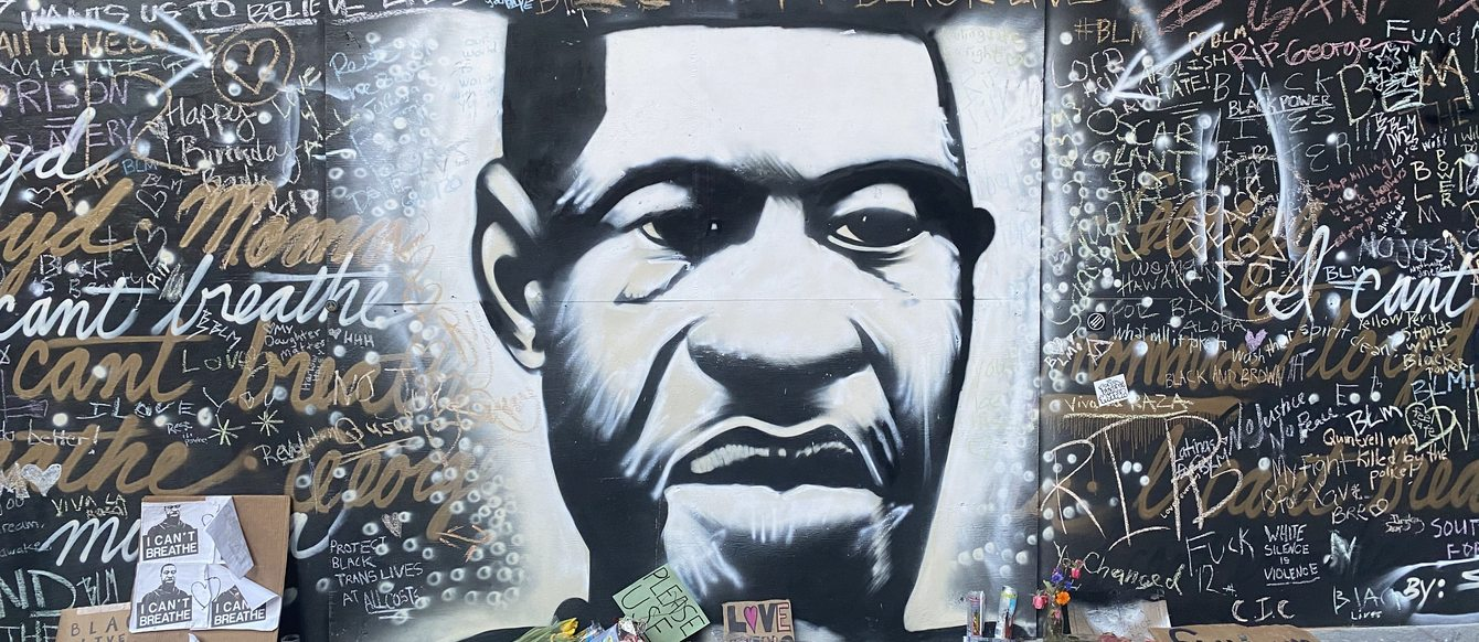 a mural of George Floyd in downtown Portland