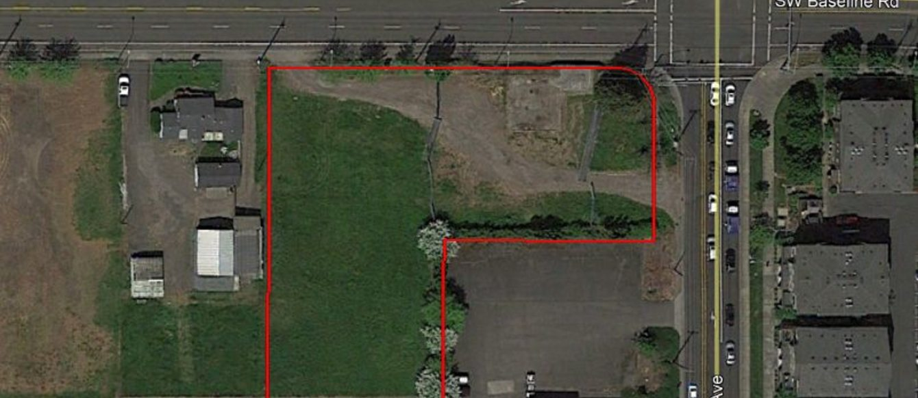 Aerial view of parcel being considered for redevelopment by the City of Beaverton and Metro