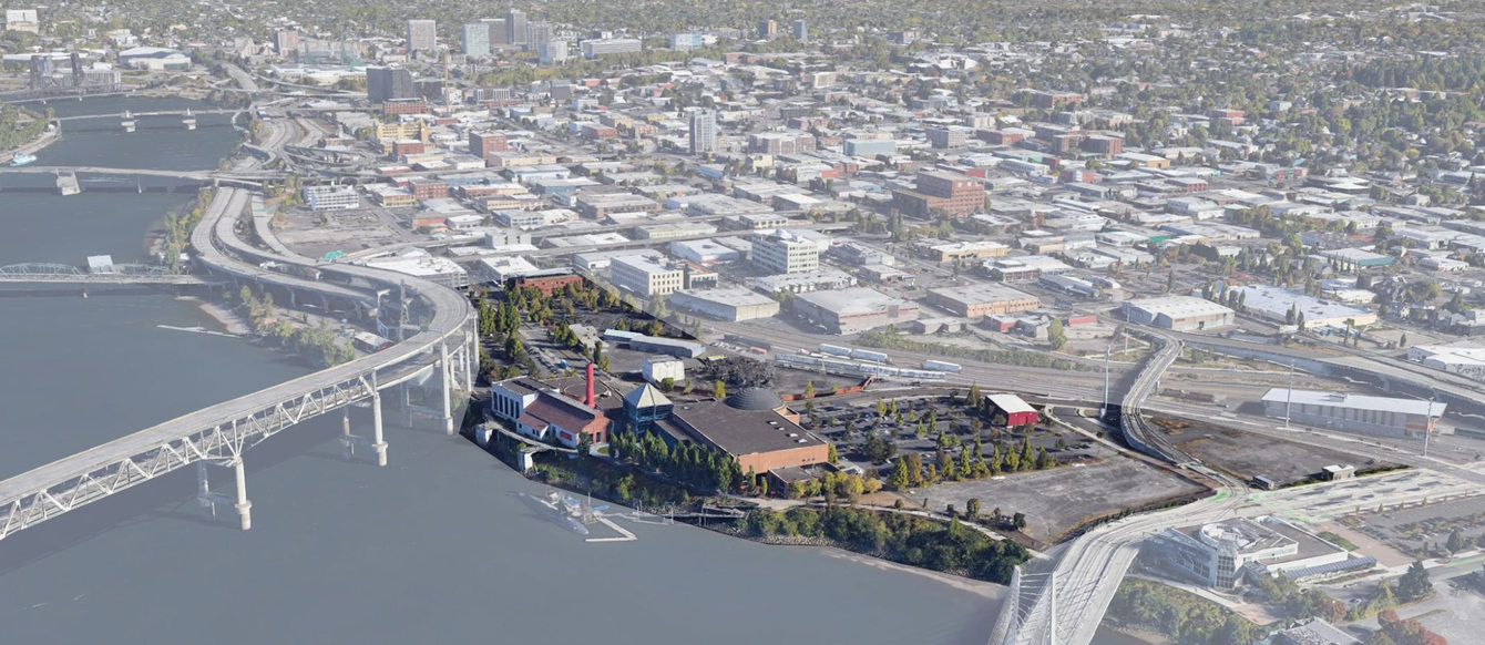 Aerial view of OMSI site showing a rendering of the planned project