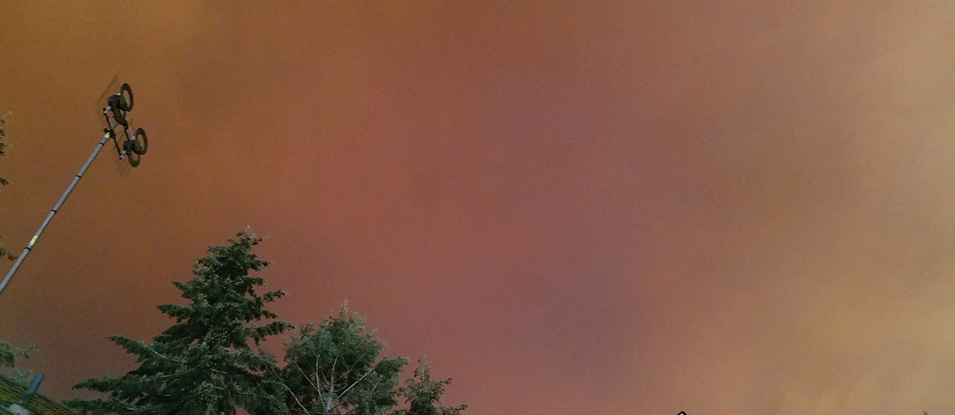Red and orange smoke billows above a home with large trees in the background.