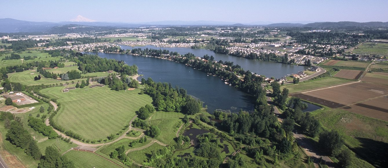 Aerial photo of Blue Lake Park, surrounded by green trees and houses