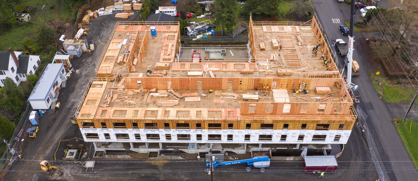 Aerial view of a building under construction