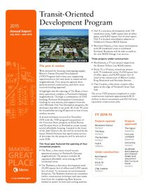 Transit-Oriented Development Program 2015 Annual Report