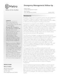 Emergency Management Follow-up audit