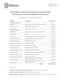 2019-20 Investment and Innovation Capital Grants pre-proposers invited to submit a full proposal