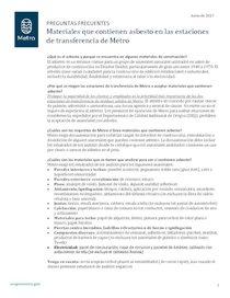 FAQ: Materiales que contienen asbesto en las estaciones de transferencia de Metro