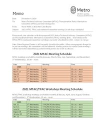 2021 MTAC and TPAC meeting schedule
