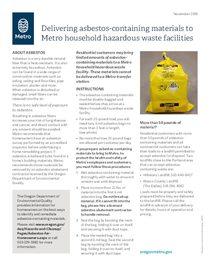 Delivering asbestos-containing materials to Metro hazardous waste facilities