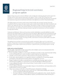 Program update - regional long-term rent assistance