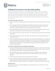 Cultural resource use policy and guidelines