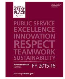 FY 2015-16 Metro budget - summary