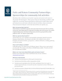 Sponsorships for community-led activitites factsheet