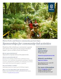 Fall 2019 Sponsorships for community-led activities flyer