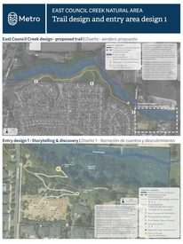 Proposed trail and three design alternatives
