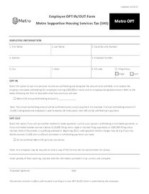 Metro tax OPT form