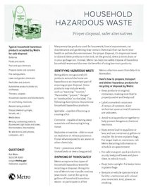Household Hazardous Waste flier