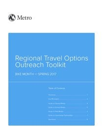 Regional Travel Options Outreach Tool Kit - Bike Month, Spring 2017