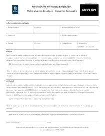 Metro tax OPT form - Spanish