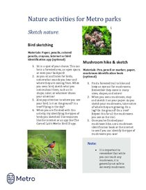Nature activities for Metro parks - sketch